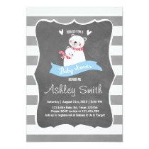 Baby Shower invite Blue gray Bear Cute Stripes