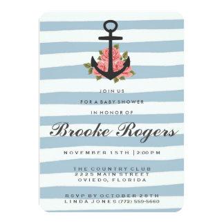 Baby Shower Invite   Blue Romantic Nautical
