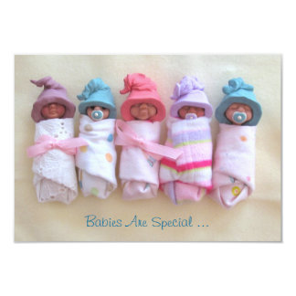 Baby Shower Invite: Clay Babies With Elf Hats Card
