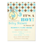 Baby Shower Invite -Diaper Pin Blue & Brown Argyle
