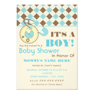 Baby Shower Invite -Diaper Pin Blue & Brown Argyle