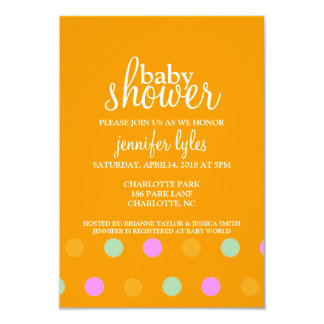 Baby Shower Invite - Dots II - orange