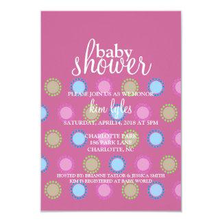 Baby Shower Invite - Dots - purple