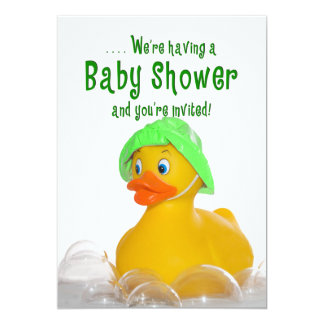 BABY SHOWER INVITE - GREEN HAT -  RUBBER DUCKY