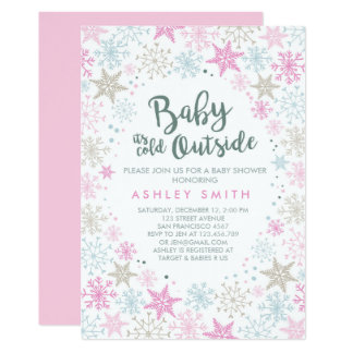 Baby Shower invite It's cold outside Snow Girl