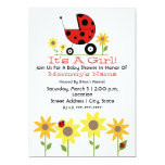 "Baby Shower Invite - Ladybugs and Wildflowers 5"" X 7"" Invitation Card"