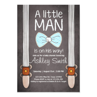 Baby Shower invite Little Man Bow tie Blue brown