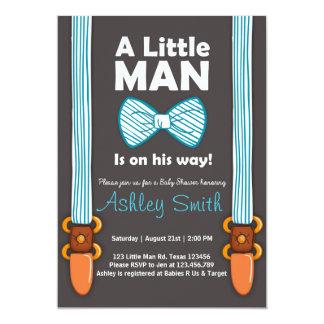 Baby Shower invite Little Man Bow tie Blue brown