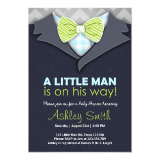 Baby Shower Invite Little Man Bow Tie Blue Green