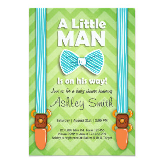 Baby Shower invite Little Man Bow tie Lime Green