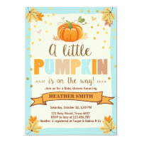 Baby Shower invite Little Pumpkin Blue Boy Fall