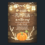 "Baby Shower invite Little Pumpkin Fall wood rustic<br><div class=""desc"">♥ A cute and fun baby shower invite for a little pumpkin on the way! Rustic wood background with string lights and a pumpkin.</div>"