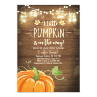 Baby Shower invite Little Pumpkin Fall wood rustic