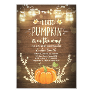 Fall baby shower invitations zazzle baby shower invite little pumpkin fall wood rustic filmwisefo