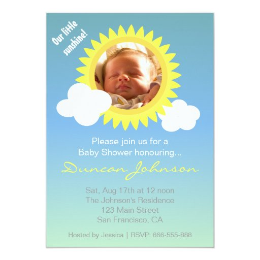 baby shower invite little sunshine and clouds card zazzle