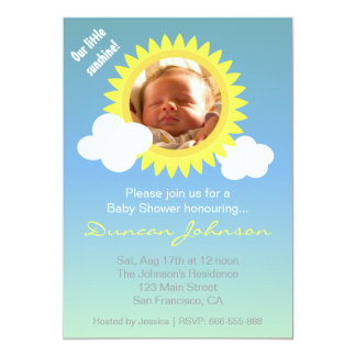 "Baby Shower Invite: Little Sunshine and Clouds 5"" X 7"" Invitation Card"