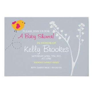 "Baby Shower Invite | Love's Bird |blue 3.5"" X 5"" Invitation Card"