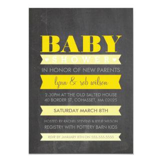 "BABY SHOWER INVITE modern chalkboard yellow grey 5"" X 7"" Invitation Card"
