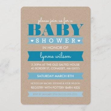 BABY SHOWER INVITE modern rustic kraft white BLUE
