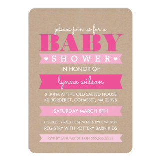 BABY SHOWER INVITE modern rustic kraft white pink