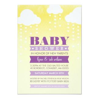 """BABY SHOWER INVITE ombre watercolor purple yellow 5"""" X 7"""" Invitation Card"""