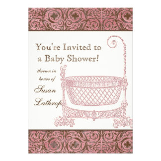 Baby Shower Invite - Pink Brown Damask Cradle