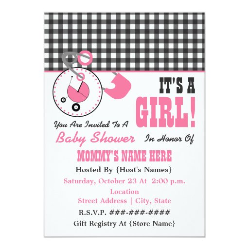 Baby Shower Invite - Pink Diaper Pin & Gingham