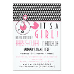 Baby Shower Invite - Pink Diaper Pin & Houndstooth