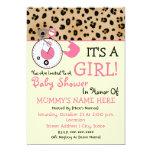 "Baby Shower Invite - Pink Diaper Pin & Leopard 5"" X 7"" Invitation Card"
