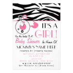 Baby Shower Invite - Pink Diaper Pin & Zebra Print