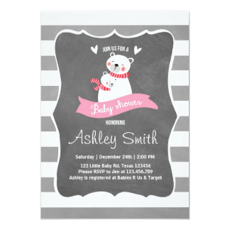 Baby Shower invite Pink gray Polar Bear