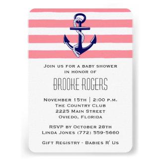 Baby Shower Invite Pink Navy Nautical