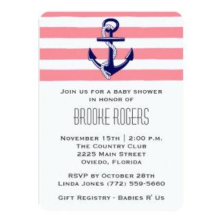 "Baby Shower Invite | Pink & Navy Nautical 4.5"" X 6.25"" Invitation Card"