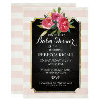 Baby Shower Invite - Pink Stripes Floral