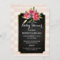Baby Shower Invite - Pink Stripes Floral
