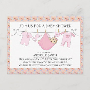 Reply baby shower invitations zazzle baby shower invite postcard clothes line design filmwisefo
