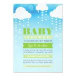 BABY SHOWER INVITE raining hearts watercolor green