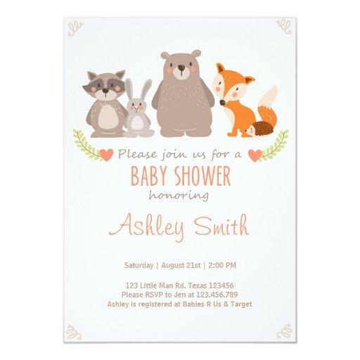 Baby Shower invite Woodland Animals Forest