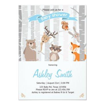 Anietillustration Baby Shower invite Woodland Animals Forest Boy