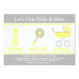 Baby Shower Invite Yellow - Shake, Rattle & Roll