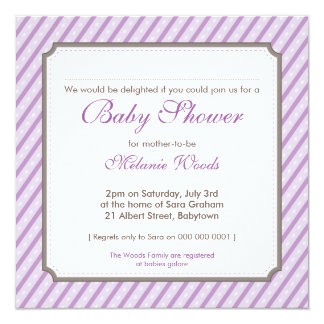 BABY SHOWER INVITES :: candy stripes 6SQ