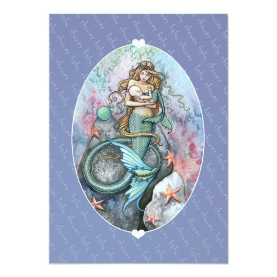 Baby Shower Invites Invitations Mermaid and Baby