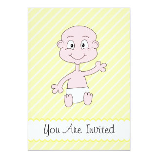 "Baby Shower Invites. Waving Cute Baby. Yellow. 5"" X 7"" Invitation Card"