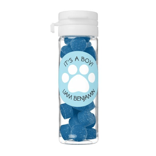 Baby Shower Its A Boy Paw Print Theme Chewing Gum Zazzle