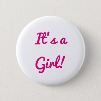 Baby Shower It's A Girl Gender Reveal Party Pink Pinback Button