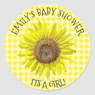 Baby Shower ITS A GIRL Sunflower Stickers