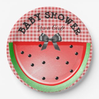 Baby Shower Its a Girl Watermelon Red Plates