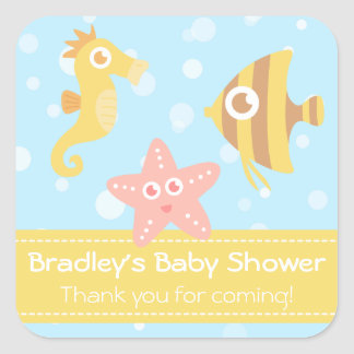 Baby Shower: Kawaii cartoon underwater creatures Square Sticker
