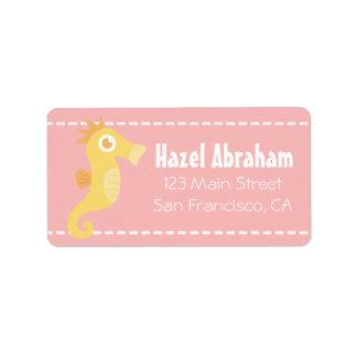 Baby Shower: Kawaii Yellow Seahorse Cartoon Label