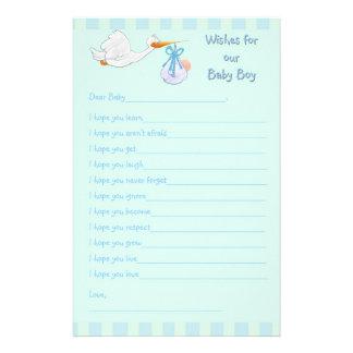 Baby Shower Keepsake - Wishes for Baby Boy Customized Stationery